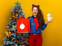 Mulher que mostra o saco de compras e o mealheiro com uma euro- conta Foto de Stock