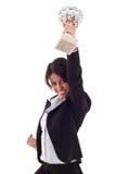 Mulher que mostra seu troféu grande Imagens de Stock