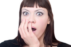 Mulher que mostra sua surpresa Imagem de Stock