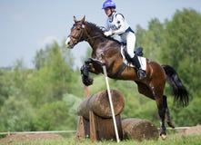 A mulher que o eventer no cavalo está supera a cerca do registro Imagens de Stock