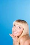 Mulher que olha acima, close-up Imagem de Stock Royalty Free