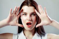 Mulher que olha entusiasmado Imagem de Stock Royalty Free