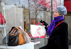 Mulher que olha a loja de indicador Foto de Stock Royalty Free