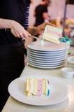 Mulher que põe fatias do bolo sobre placas Fotografia de Stock