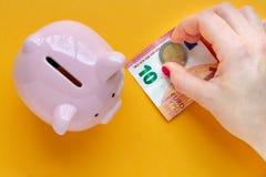 Mulher que põr o dinheiro em um banco Piggy imagens de stock royalty free