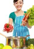 Mulher que põr um grupo de ingredientes saudáveis Fotos de Stock Royalty Free