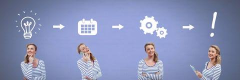 Mulher que pensa em ordem com ideias e ícones do processo do clique Imagens de Stock