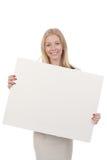 Mulher que prende a placa branca Imagem de Stock