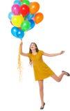 Mulher que prende um grupo dos balões Fotos de Stock Royalty Free
