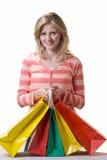 Mulher que prende um guarda-chuva amarelo Imagem de Stock