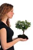 Mulher que prende uma árvore imagens de stock royalty free