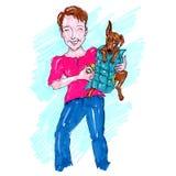 Mulher que prende uma ilustração do cão Fotos de Stock Royalty Free