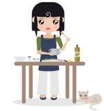 Mulher que prepara o alimento ilustração do vetor