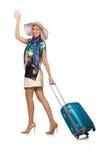 Mulher que prepara-se para as férias de verão isoladas Fotos de Stock Royalty Free