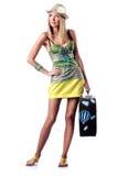 Mulher que prepara-se para férias Fotos de Stock Royalty Free