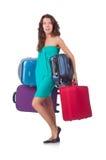 Mulher que prepara-se para férias Fotografia de Stock Royalty Free