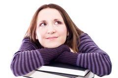 Mulher que preperaing para o exame Imagens de Stock