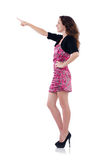 Mulher que pressiona o botão virtual isolado Fotos de Stock