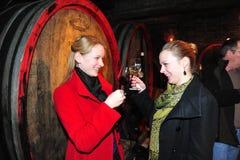 Mulher que prova o vinho vermelho Fotografia de Stock