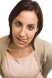 Mulher que puxa a face engraçada Imagem de Stock