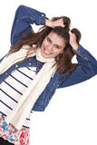 Mulher que puxa seu cabelo Fotos de Stock