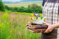 Mulher que realiza em seus livros das mãos, em um almofariz e na lupa foto de stock royalty free