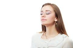 Mulher que respira fotografia de stock