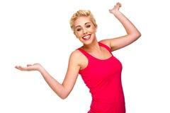 Mulher que ri, sorrindo e dançando Foto de Stock