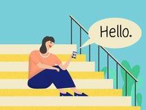 Mulher que senta-se em escadas e que tem a conversação ilustração stock