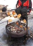 Mulher que senta-se em uma fogueira no tempo de inverno Fotos de Stock