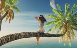 Mulher que senta-se em uma palmeira Foto de Stock Royalty Free