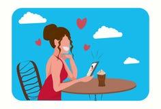 Mulher que senta-se na tabela na menina feliz do conceito do dia de Valentim do café que usa a conversação video do smartphone co ilustração do vetor