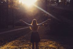 Mulher que sente livre no por do sol Silhueta dos braços de espalhamento da mulher com seus polegares acima, estando na floresta  Fotografia de Stock Royalty Free