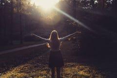 Mulher que sente livre no por do sol Silhueta dos braços de espalhamento da mulher com seus polegares acima, estando na floresta  Fotos de Stock