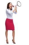 Mulher que shouting através do megafone Foto de Stock