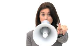 Mulher que Shouting através do megafone vídeos de arquivo