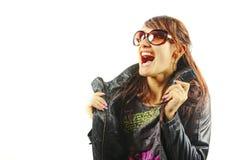 A mulher que shouting do prazer Foto de Stock Royalty Free