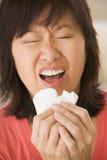 Mulher que Sneezing imagem de stock