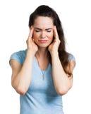 Mulher que sofre da dor de cabeça imagens de stock royalty free