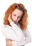 Mulher que sofre da dor de cabe Imagens de Stock Royalty Free