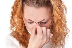 Mulher que sofre da dor de cabe Fotografia de Stock