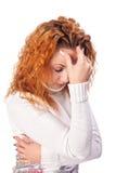 Mulher que sofre da dor de cabe Fotos de Stock Royalty Free