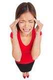 Sofrimento da mulher da dor de cabeça da enxaqueca Foto de Stock