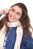 Mulher que sorri e que olha acima Foto de Stock
