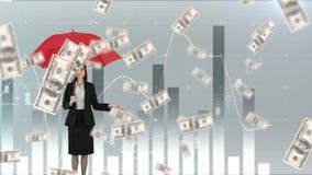 Mulher que sustenta um guarda-chuva quando chover dólares ilustração stock