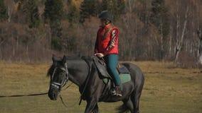 Mulher que tem lições de equitação video estoque