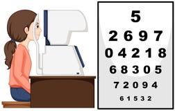 Mulher que tem o exame de olhos com máquina ilustração royalty free