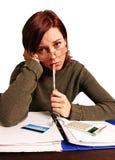 Mulher que tem problemas financeiros Imagens de Stock