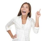 Mulher que tem uma idéia - eureka! Imagens de Stock