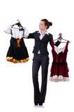 Mulher que tenta a roupa nova Imagem de Stock Royalty Free